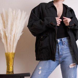 Vintage 80s silk oversize boyfriend bomber jacket